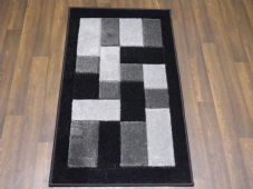 Modern Aprox 4x2 60cm x110cm New Rugs Woven Hand Carved Nice Blocks Black/Silver
